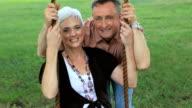 Seniors in Park on Swing video