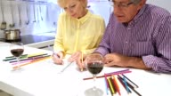 Seniro couple relaxing and coloring books video