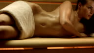 HD DOLLY: Sensual Woman Relaxing In The Sauna video