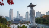 Seoul Buddhist Temple and city view day to night timelapse video