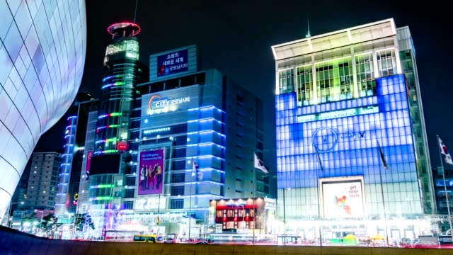 Seoul City Night Shopping Area Timelapse video
