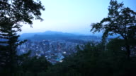 Seoul, South Korean capital city view from top of mountain during sunset evening time video