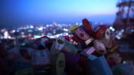 SEOUL,SOUTH KOREA - July 2016: N Seoul Tower lock of love with romantic night view from hill deck video