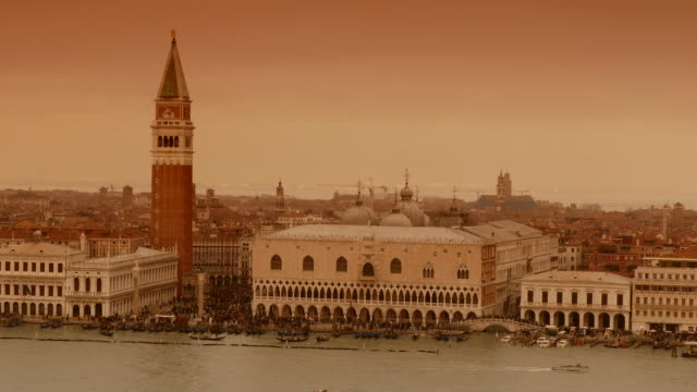 4K Sepia view of Doge's palace and St. Marc's Campanile on Canale grande, Italy video