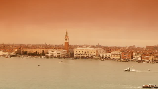 4K Sepia view of Grand canal in Venice, Italy video