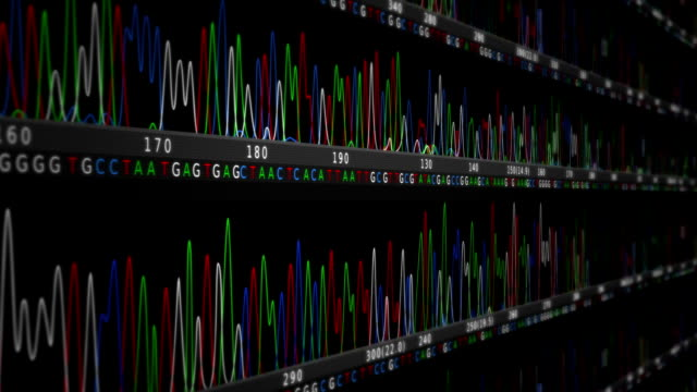 DNA Sequence. Zoom out. Black-Blue. video