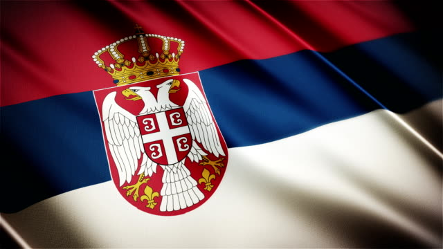 Serbia realistic national flag seamless looped waving animation video