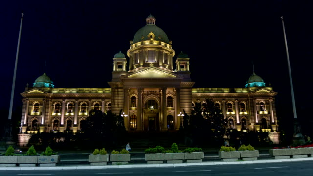 Serbian parliament building in the center of Belgrade capital city. video