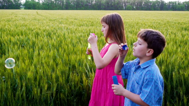 serene kids blowing up the soap bubbles on field video