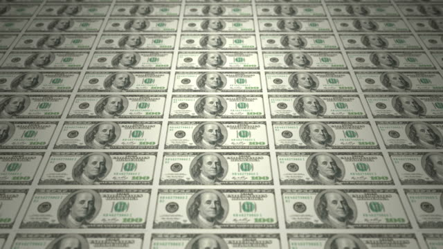 Serie of bills of american one hundred dollars on print, cash money video