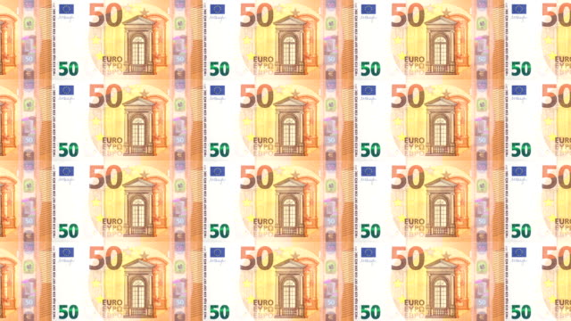 Series of banknotes of fifty euro rolling on print, seamless looping video