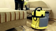 Service cleaning dirty sofa and chairs with special tool video