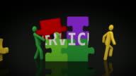 Services Puzzle. Black background. video