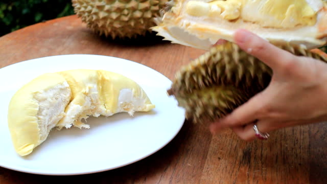 Serving Delicious Thai Durian Fruit video
