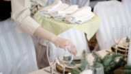 serving wedding table in a restaurant video