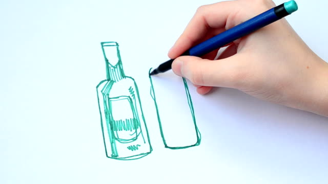 Set of beer bottles in ink hand drawn style. isolated on white. video