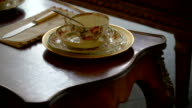 A set of cup and saucer on the table in Ireland video