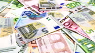 Set of euro banknotes video