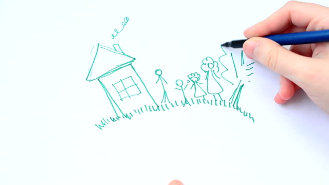 Set of hand-drawn houses video