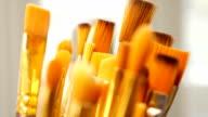 Set of paint brushes close-up. Art studio concept. video