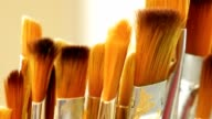 Set of paint brushes close-up. Art studio concept. video