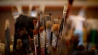 Set of paint brushes video