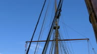 Set of ropes on the sail mast of the big ship on dock GH4 4K video