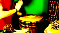 Seven (7) short loopable percussion drumming sequences video