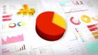 Seventy percent Pie chart with various economic finances graph.(no text) video