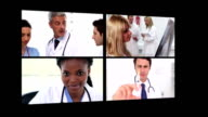 Several different short clips showing doctors video