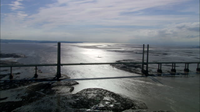 Severn Bridge - Aerial View - England, Gloucestershire, Forest of Dean, United Kingdom video