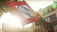 Sevilla Metro sign in Madrid video