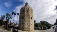 Seville city Torre Del Oro tower time lapse video