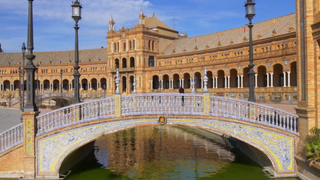 seville plaza de espana bridge close up 4k spain video