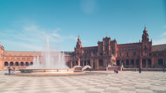 seville sunny day fountain palace of spain panoramic view 4k time lapse video