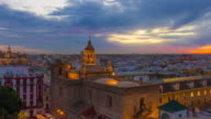 seville sunset light city roof top panorama 4k time lapse spain video
