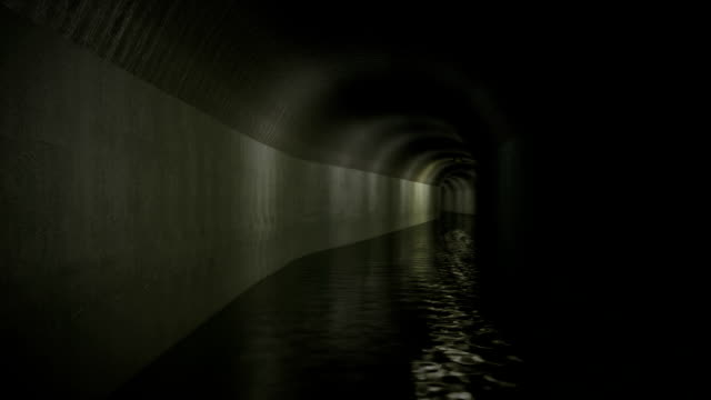 Sewer Corridor with light at the end / tunnel vision video