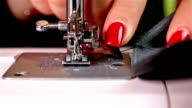 Sewing machine, close up, slow motion video