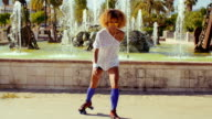 Sexy Afro American Girl on Her Roller Skates video