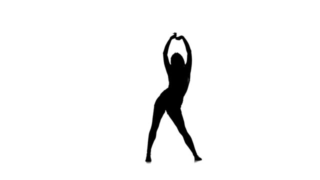 Sexy dancer woman dancing on white background, slow motion, silhouette video