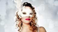 Sexy masquerade mask woman outside video