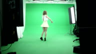 Sexy Model Dancing on Green Background video