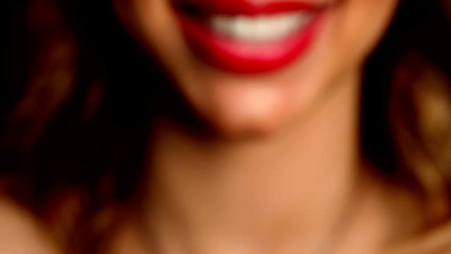 HD: Sexy Red Female Lips Saying I Love You video