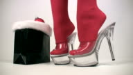 Sexy Santa in high heels stockings video