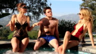 Sexy threesome in hot tub video