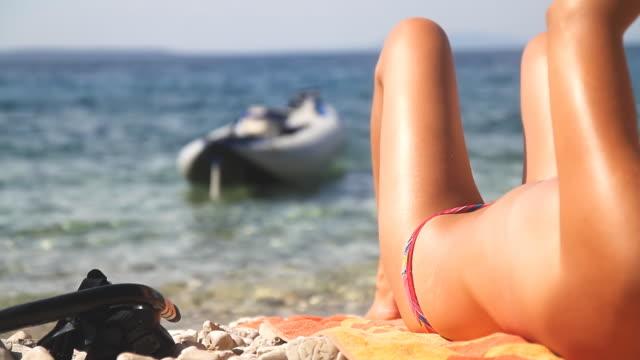HD: Sexy Woman On The Beach video