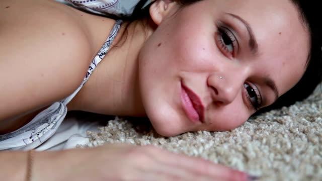 Sexy Woman On White Carpet video