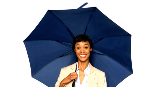 Sexy woman playing with umbrella video