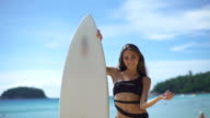 Sexy Woman Posing With Surfboard video