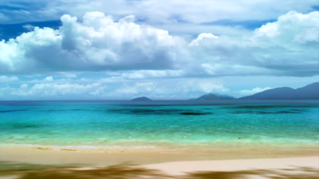 Seychelles seascape. Clouds time lapse video
